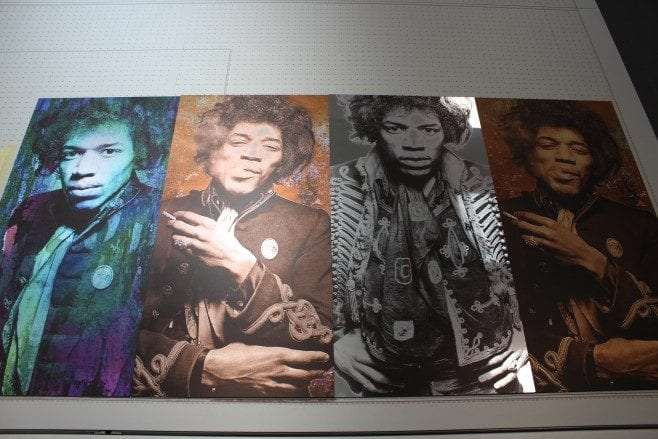 Multiple images of Jimi Hendrix on different substrates