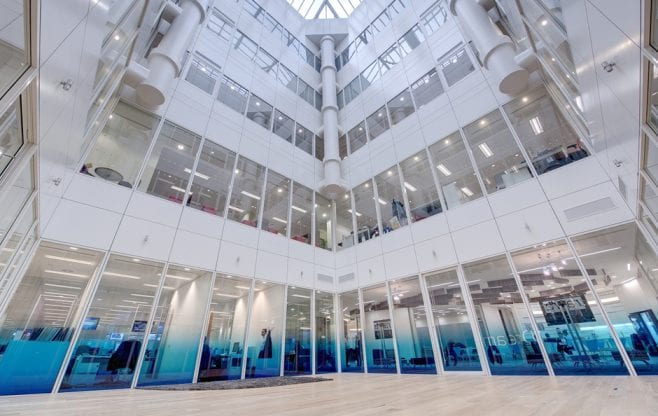 Graduated optically clear graphics CMC offices in the City.