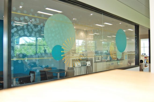 layers of multi layered optically clear media for Freeths Offices, Milton Keynes